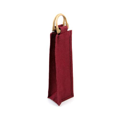 Jute Bottle Bag - Burgundy