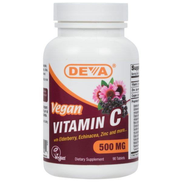 Deva Vegan Vitamin C - 500mg (with Elderberry, Echinacea & Zinc)